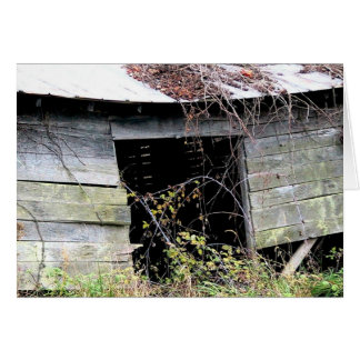 Tumble Down Farm Shed With Fallen Roof Card