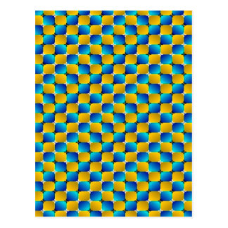 Tumbler #3 Optical Illusion Warping Blue/Yellow Postcard