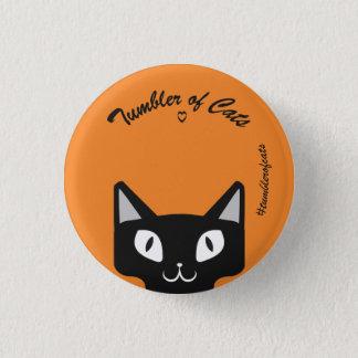 TumblerofCats button- Black on orange TumblerCat 3 Cm Round Badge
