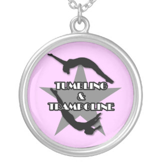 Tumbling and Trampoline Silver Plated Necklace