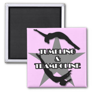 Tumbling and Trampoline Square Magnet