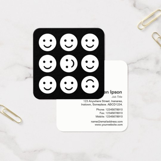 Tumbling Emojis - White on Black Square Business Card