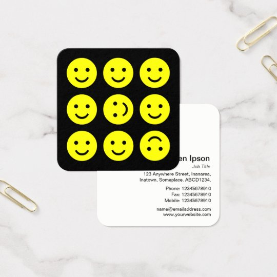 Tumbling Emojis - Yellow on Black Square Business Card