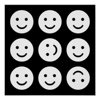 Tumbling Smileys - Black and White Poster