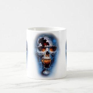 tumblr static evil blue skull basic white mug