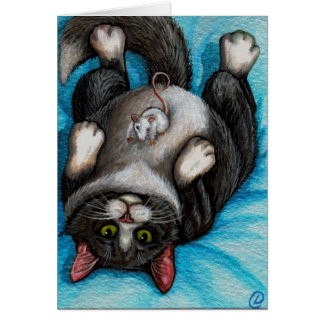 TUMMY RUB Tuxedo Cat Mouse Card