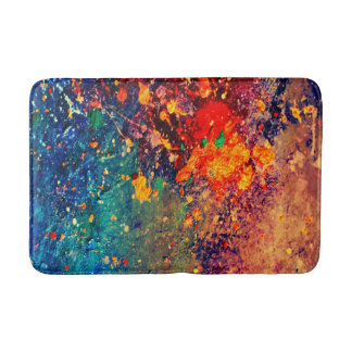 Tumultuous Bath | Colorful Bold Rainbow Splatter | Bath Mat