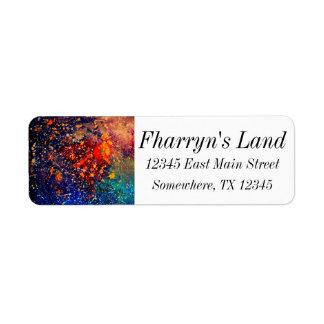 Tumultuous Bright Rainbow Splatter Abstract Return Address Label