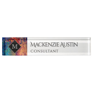Tumultuous Desk | Monogram Name Rainbow Splatter Nameplate