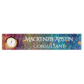 Tumultuous Desk | Name Rainbow Splatter Abstract Nameplate
