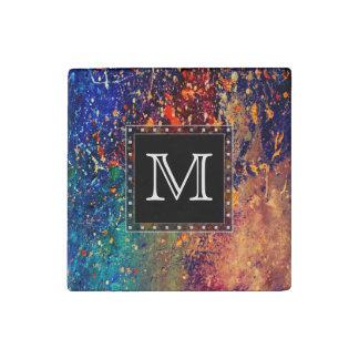 Tumultuous Monogram Bold Rainbow Splatter Abstract Stone Magnet