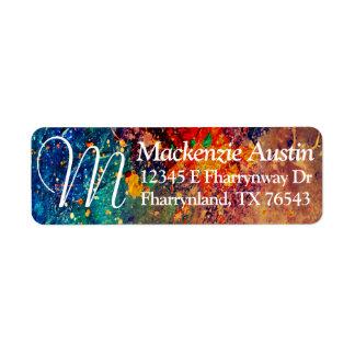 Tumultuous Office   Bold Artistic Rainbow Splatter Return Address Label