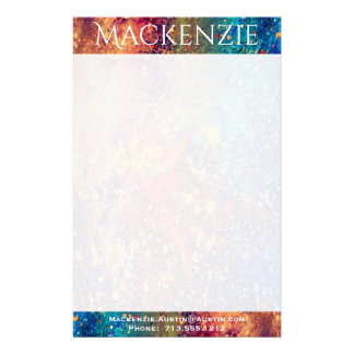 Tumultuous Office | Name Rainbow Splatter Abstract Stationery