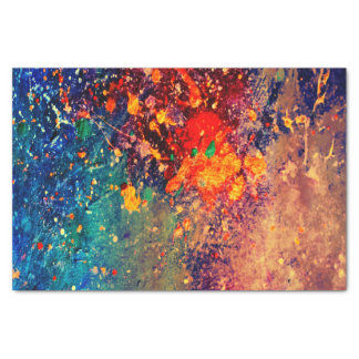 Tumultuous Party   Chic Rainbow Splatter Abstract Tissue Paper