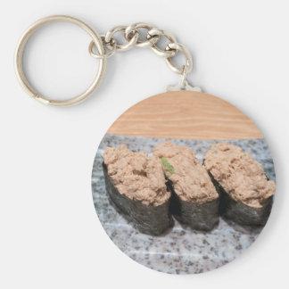 Tuna Salad Sushi trio on ceramic plate closeup Key Ring