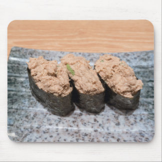 Tuna Salad Sushi trio on ceramic plate closeup Mouse Pad