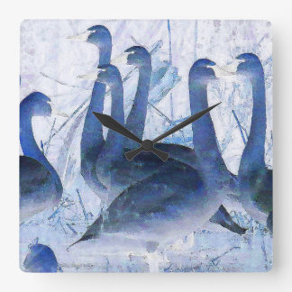 Tundra Swan Birds Wildlife Animals Clock