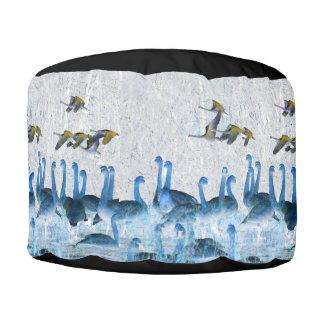 Tundra Swan Birds Wildlife Animals Pouf Ottoman