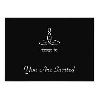 Tune In - White Sanskrit style 13 Cm X 18 Cm Invitation Card