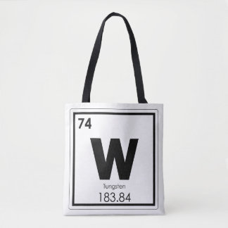 Tungsten chemical element symbol chemistry formula tote bag