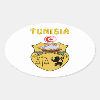 Tunisia Coat Of Arms Oval Sticker