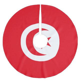 Tunisia Flag Brushed Polyester Tree Skirt