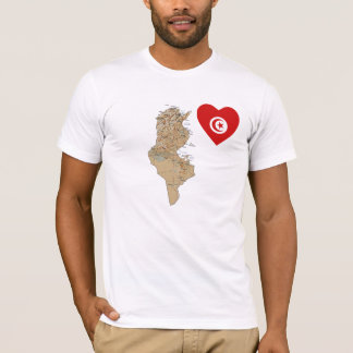 Tunisia Flag Heart and Map T-Shirt