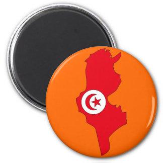 Tunisia flag map 6 cm round magnet