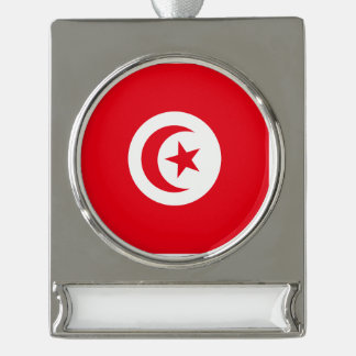 Tunisia Flag Silver Plated Banner Ornament