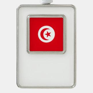 Tunisia Flag Silver Plated Framed Ornament