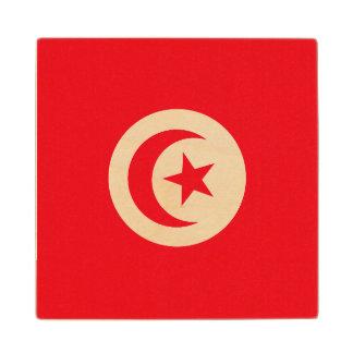 Tunisia Flag Wood Coaster