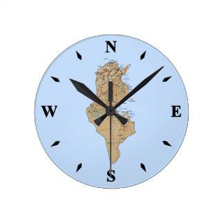 Tunisia Map Clock