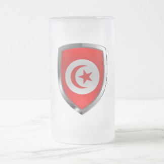 Tunisia  Metallic Emblem Frosted Glass Beer Mug