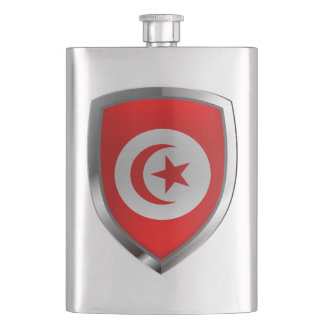 Tunisia  Metallic Emblem Hip Flask