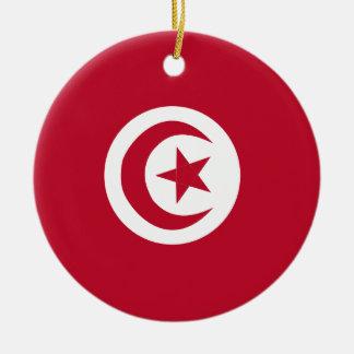 Tunisian flag ceramic ornament