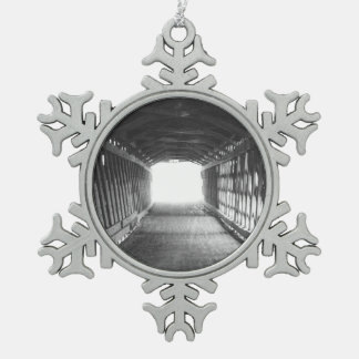 Tunnel of Light Snowflake Pewter Christmas Ornament