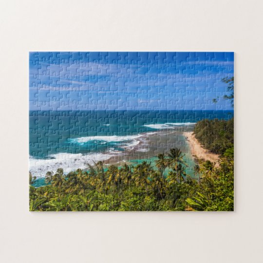 Tunnels Beach as seen from the Kalalau Trail Jigsaw Puzzle