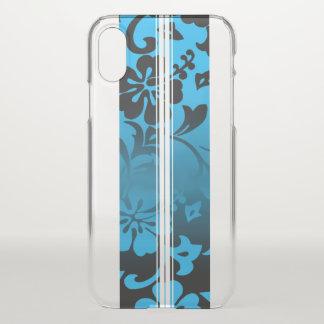 Tunnels Beach Hawaiian Hibiscus Surfboard Blue iPhone X Case