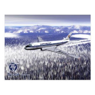 Tupolev (Туполев) Tu-104 Over Siberia Postcard