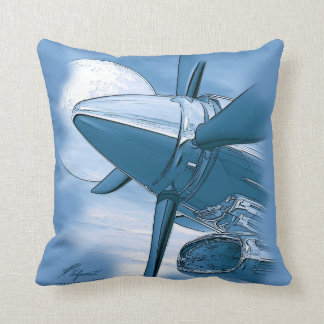 Turbo Vintage Aircraft Pillow Blue