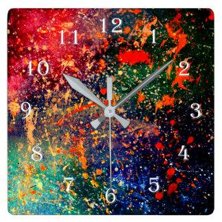 Turbulent Bold Rainbow Splatter Abstract Square Wall Clock