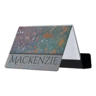 Turbulent Desk | Name Mottled Splatter Abstract Desk Business Card Holder