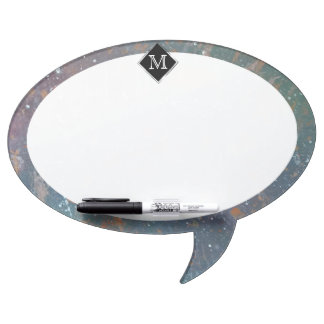 Turbulent Office | Monogram Fade Abstract Splatter Dry Erase Board