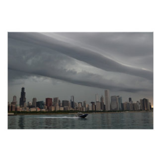 Turbulent Skies Over Chicago Poster
