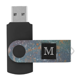 Turbulent Tech | Monogram Muted Abstract Splatter USB Flash Drive