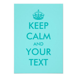 Turguoise Keep calm posters | Customizable text