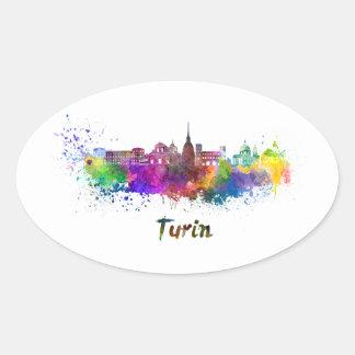 Turin skyline in watercolor oval sticker