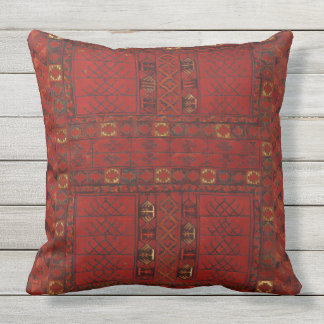 Turkestani red carpet pattern outdoor cushion