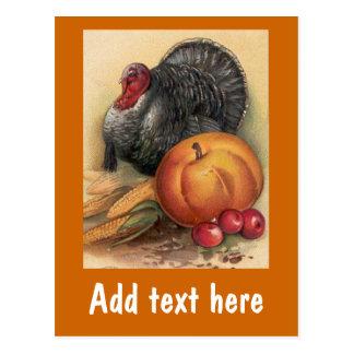Turkey and Pumpkin Thanksgiving Cards Postcard