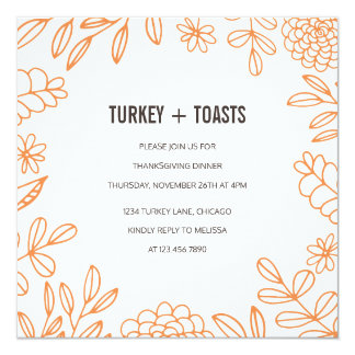 Turkey and Toasts 13 Cm X 13 Cm Square Invitation Card